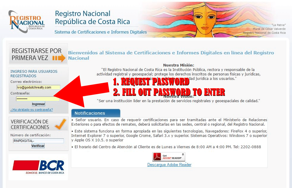 Free Costa Rica real estate title check by name