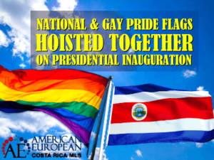 gay flag and National flag together