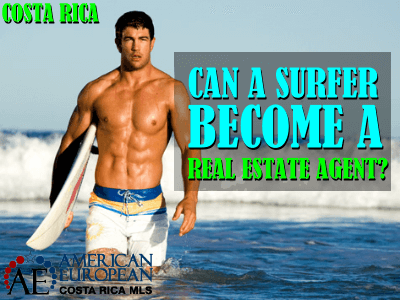 How can a surfer become a real estate agent in Costa Rica?