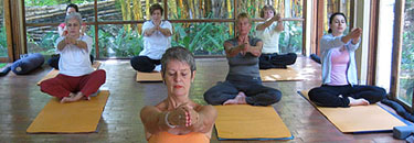 Janine and her Yoga group in Escazu