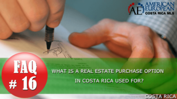 What is a real estate purchase option in Costa Rica?